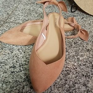 Suede sling back ballet flats for women